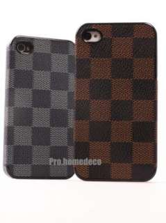 Brown Deluxe Leather Hard Case Cover for iPhone 4S 4G Free Protector