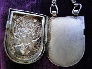 Vtg MUNCHEN Munich ARMY USA PHOTO LOCKET Watch Eagle 1950 STERLING