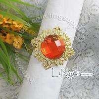 Gold Gem Napkin Ring Wedding Party Bridal Shower Favor Decoration Gift