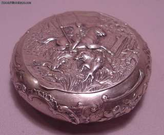 Antique 800 Silver Box Depicting Wild Boar Hunt Rider Huntsman & Dogs