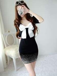 New Korea Women Big Bow Shining Diamond Mini dress Black