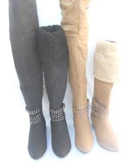 HighHeel Black Grey Knee High Micro Suede Winter BootS ShoeS Sz 5 10
