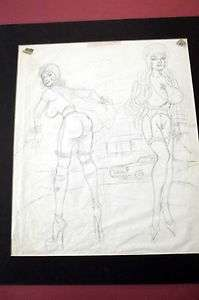 BILL WARD (ORIGINAL 11X17 SIZE UNPUBLISHED SEXY GIRLS PENCIL ARTWORK