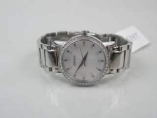 DKNY NY 4791 Womens Silvertone Stainless Steel Crystal MOP Dial 40mm