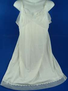 Womens Carol Brent White Embroidered Nylon Full Slip