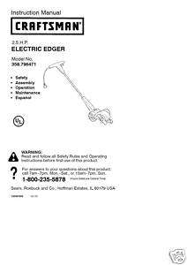 Craftsman Edger Manual Model # 358.796471