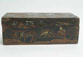 Chinese Antique Small Wood Painted Storage Box JAN09 05
