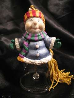 GORHAM Crystal glass SNOWMAN BELL Christmas TREE ORNAMENT new in box