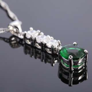 SALE Fashion Jewelry Green Emerald Round Cut White Gold Tone Pendant