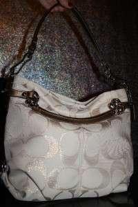 metalic signature c design stunning purse nice large size hobo bag