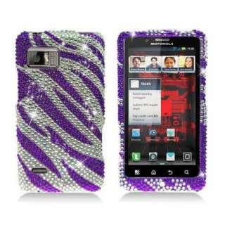 Purple ZEBRA Bling DIAMOND Jewel Cover 4 Motorola DROID BIONIC XT875