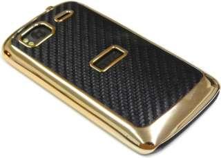 LUXUS HTC SENSATION Cover  CHROM GOLD RAHMEN MIT 3d Carbon Tastbar (no