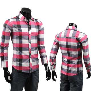 New Mens Casual Plaid Shirt Button up Long Sleeved Shirt 3 Color M XXL