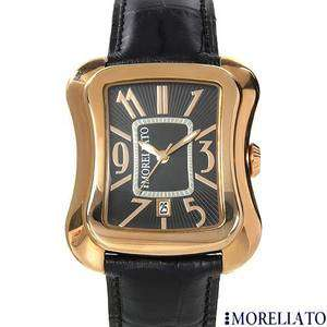 MORELLATO Watch Mens Diamond Date Gold Tone w/ Black Leather $220
