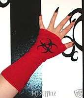 DIY Black Gothic Red Biohazard Cyber Goth Arm Warmers |