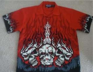 Flames Skulls Hot Rod Youth L Biker Button Down Shirt