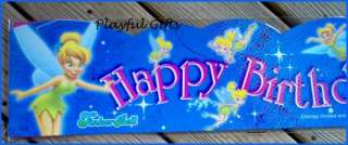 Tinkerbell Blue Happy Birthday Banner