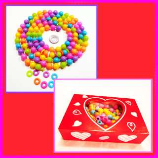 Feet Bright Pop Beads in Wood Heart Box, Be Mine!