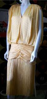 80s/20s XS S Blouson Flapper Fringe Coffin Draped Dropped Waist Dress
