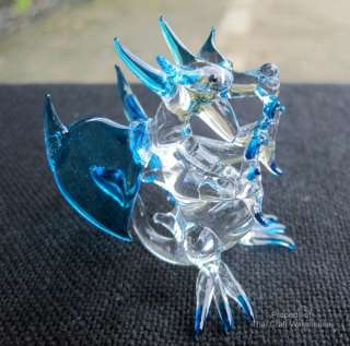 Thai Hand Crafted Small Glass Art   Blue Dragon No#1