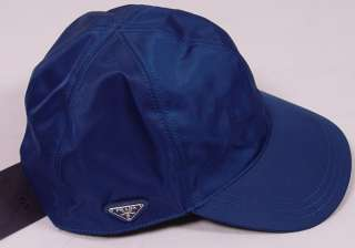 PRADA HAT $385 BLUE PRADA LOGO CREST ORNAMENTED NYLON/LEATHER BALL CAP