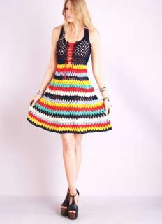 RAINBOW CROCHET Sheer Cutout CORSET LACE UP HIppie Festival Mini DRESS