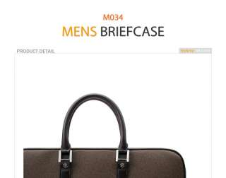 Mens PU Leather Briefcase Bag M034 Black Gray Beige Brown