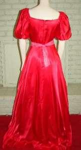 Vintage 80s Red Satin Formal Dress Gown Full skirt short back train 31