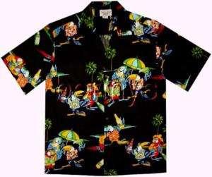 NEW Parrots Beer Margaritas Hawaiian Shirt, Black, L