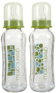 Green To Grow 8oz Standard Glass Baby Bottles   2 Pack 896546002192