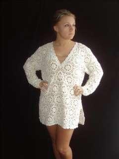 VINTAGE Open CUTOUT WHITE Crochet Lace MINI Tunic Pearl Bead PLUNGE