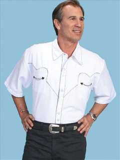 726W Short Sleeve Scully Western Cowboy Snap Shirt Large White