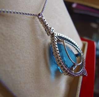HUGE 67.9Ct. Blue Topaz+6 Sapphires+50 Diamonds Pendant