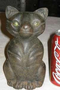 MEDIEVAL BLACK CAT ART STATUE SCULPTURE DOORSTOP GARDEN POST TOP