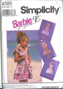 OOP Simplicity Girls / Child Matching Mattel Barbie Doll Clothes