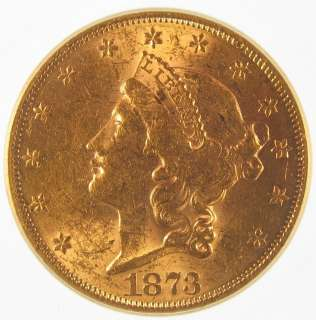 1873 U. S. Liberty Head $20 Double Eagle Gold Coin IGC MS60