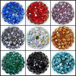 12mm Round Ball Pave Crystal Rhinestone Spacer Beads Jewelry DIY