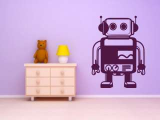 Cute Robot Kids Child Room Wall Decal Art Sticker