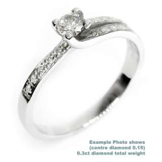 White Gold Diamond Engagement Ring 0.25Carat SI Clarity
