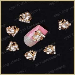 10pcs Gold 3D Alloy Rhinestones Crown Nail Art Glitters Slices DIY