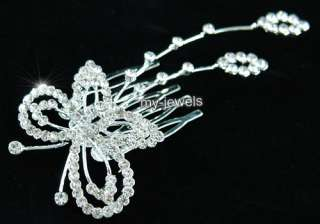 Wedding Bridal Butterfly Crystal Hair Comb T1323