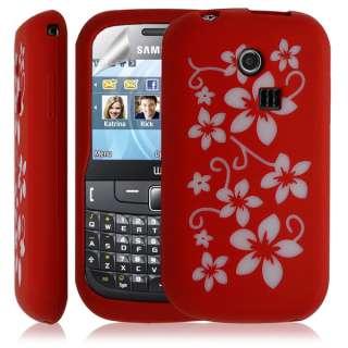 Housse coque étui silicone Samsung Chat 335 S3350 motifs fleurs rouge