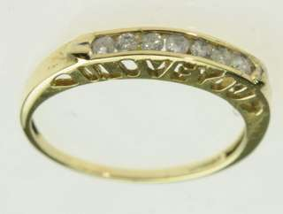 LADIES 10K YELLOW GOLD DIAMOND WEDDING ESTATE BAND RING