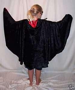 Hip Length Black Velvet Lined w Red Satin Vampire Halloween Costume