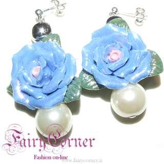 Orecchini donna rosa azzurra ceramica perla bianca