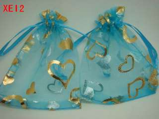 LOVE HEART Organza Wedding Jewellery Bags 7x9cm XE