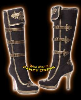 LEG AVENUE # BROWN SUEDE ANNA PIRATE BOOTS SIZE 7