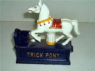 Vintage Cast Iron Bank Trick Pony Reproduction