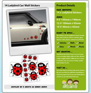 14x LADYBIRD STICKERS car nursery decals insect bug vw