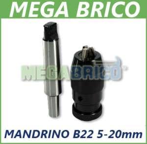 MANDRINO AUTOSERRANTE TORNIO TRAPANO COLONNA B22 5 20MM